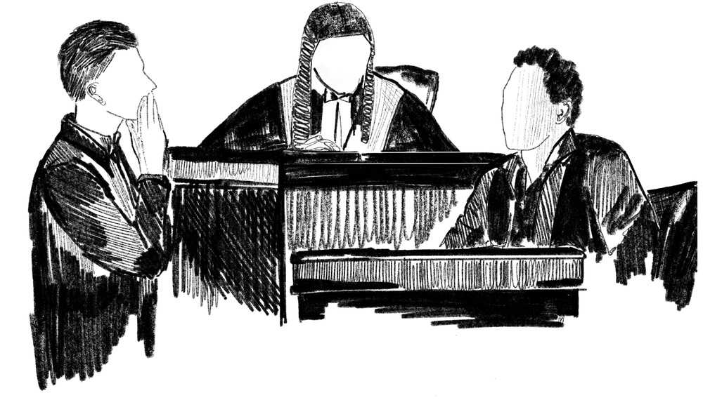 A black and white illustration of a court scene with three figures: a judge, a defendant and a lawyer.