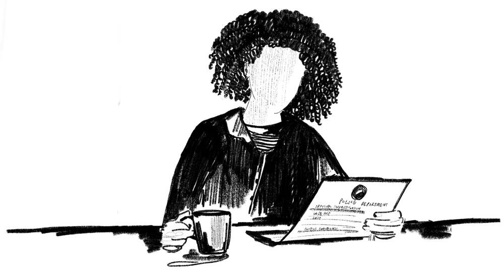 A black and white illustration of a woman sitting at a desk reading a police report and holding a mug.