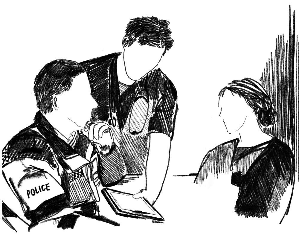 A black and white illustration of a police officer, a paramedic and a nurse.
