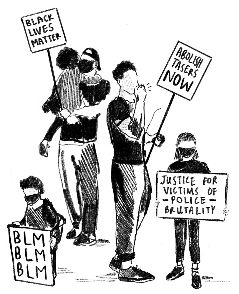 A black and white illustration of two adults and three children holding signs at a protest. The signs read 'Black Lives Matter', 'Abolish Tasers Now', 'Justice for Victims of Police Brutality' and 'BLM BLM BLM'.